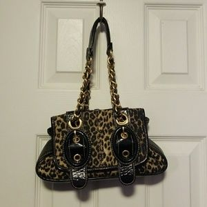 {Rampage} Leopard Print Handbag w/ Gold Straps